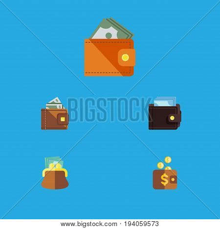 Flat Icon Billfold Set Of Wallet, Finance, Payment And Other Vector Objects. Also Includes Cash, Pouch, Wallet Elements.