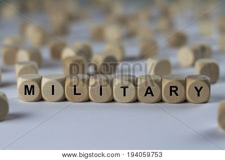 Military - Cube With Letters, Sign With Wooden Cubes