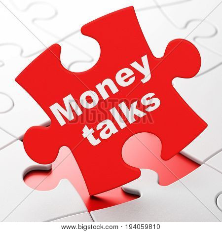 Finance concept: Money Talks on Red puzzle pieces background, 3D rendering