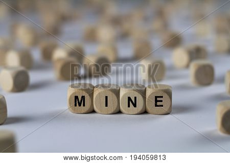 Mine - Cube With Letters, Sign With Wooden Cubes