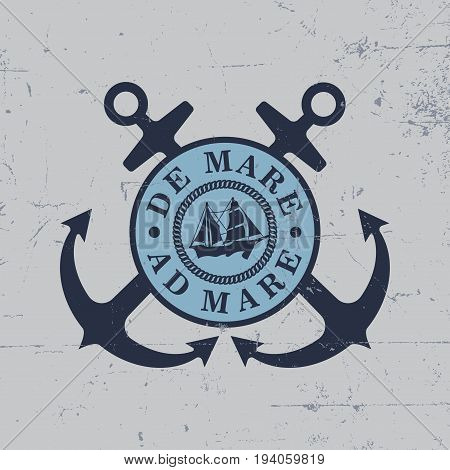 Anchors Label Poster with two anchors and words de mare ad mare vector illustration