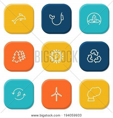 Set Of 9 Atmosphere Outline Icons Set.Collection Of Pollution, Wind Turbine, Renewable Energy And Other Elements.