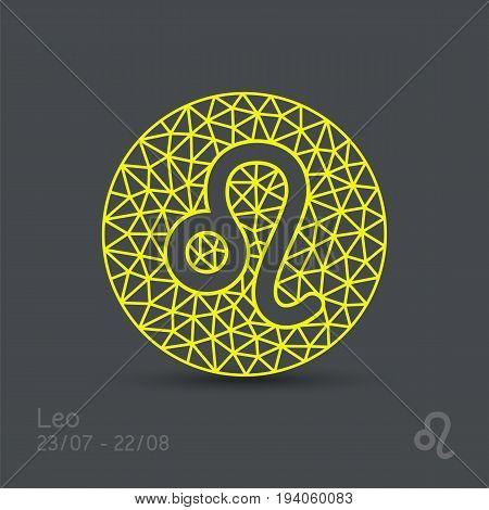 Leo zodiac sign in circular frame, vector Illustration. Contour icon.