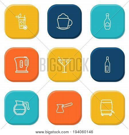 Set Of 9 Drinks Outline Icons Set.Collection Of Coffeepot, Coffee, Kettle And Other Elements.