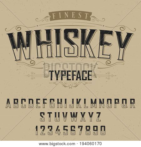 Finest Whiskey Typeface Poster with decoration on beige background vector illustration