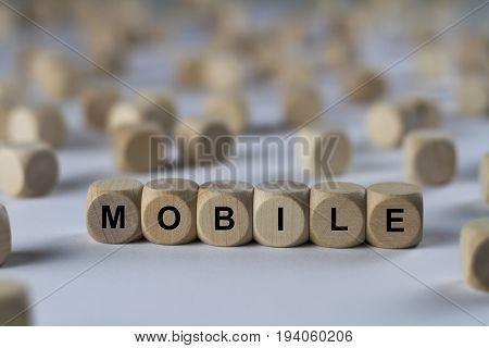 Mobile - Cube With Letters, Sign With Wooden Cubes