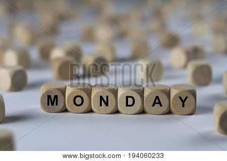 Monday - Cube With Letters, Sign With Wooden Cubes