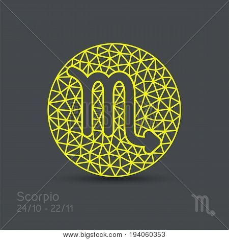 Scorpio zodiac sign in circular frame, vector Illustration. Contour icon.