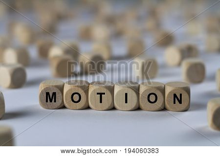 Motion - Cube With Letters, Sign With Wooden Cubes