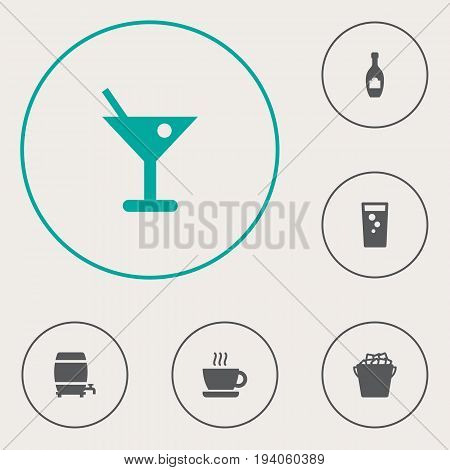 Set Of 6 Beverages Icons Set.Collection Of Cask, Martini, Fridge And Other Elements.
