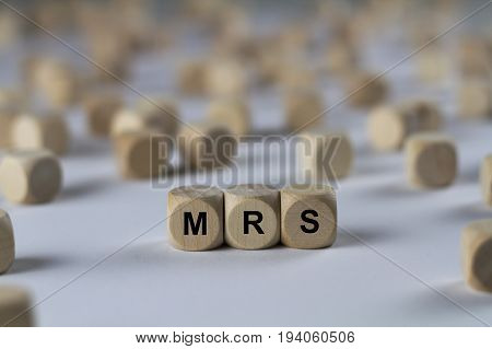 Mrs - Cube With Letters, Sign With Wooden Cubes