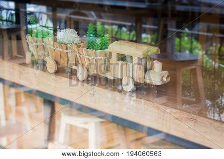 Wooden toy decorated on table stock photo