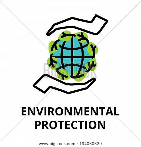 Modern flat thin line design icon vector illustration infographic concept of ecology and environmental protection for graphic and web design