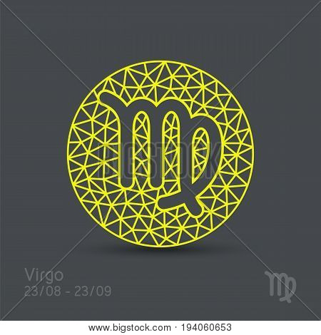 Virgo zodiac sign in circular frame, vector Illustration. Contour icon.