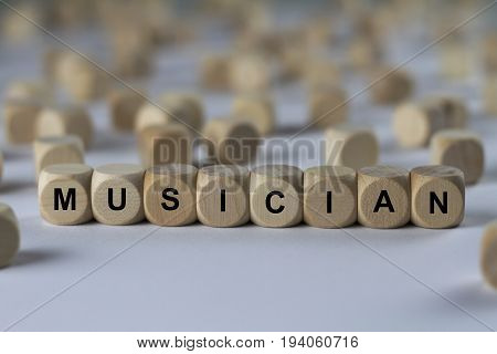 Musician - Cube With Letters, Sign With Wooden Cubes