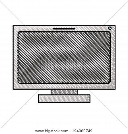 colored pencil silhouette of lcd monitor vector illustration