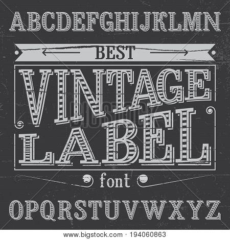 Finest Vintage Label Font Poster on dusty noise background vector illustration