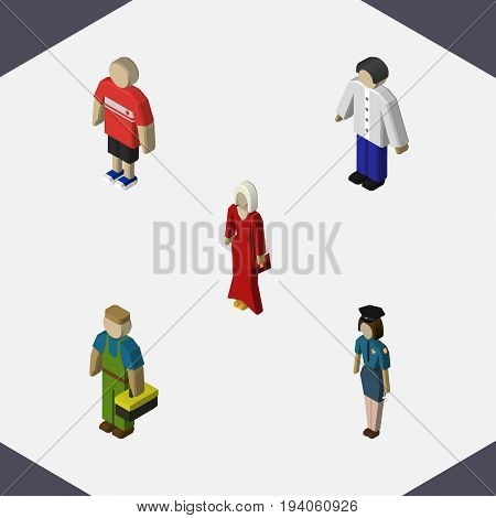 Isometric Person Set Of Male, Guy, Female And Other Vector Objects. Also Includes Woman, Male, Policewoman Elements.