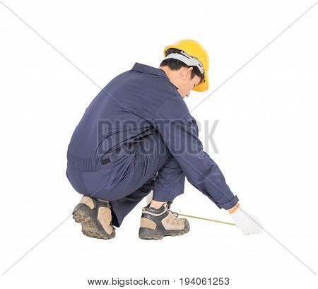 Young Worker In Unifrom With Tape Measure Isolated On White