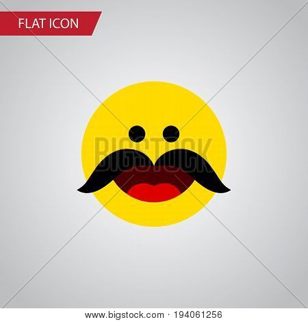 Isolated Whiskers Flat Icon. Cheerful Vector Element Can Be Used For Cheerful, Whiskers, Emoji Design Concept.