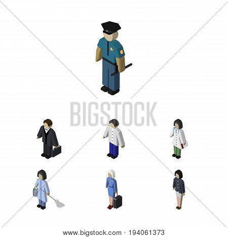 Isometric People Set Of Doctor, Housemaid, Male And Other Vector Objects. Also Includes Nurse, Housekeeper, Medic Elements.