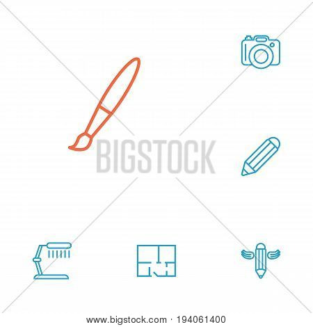 Set Of 6 Creative Outline Icons Set.Collection Of Pencil, Property Plan, Paintbrush And Other Elements.