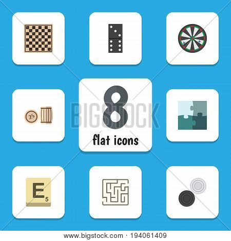 Flat Icon Games Set Of Arrow, Lottery, Jigsaw And Other Vector Objects. Also Includes Domino, Checkerboard, Checkers Elements.
