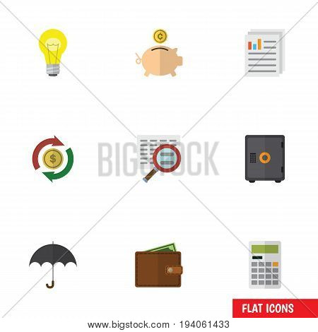 Flat Icon Finance Set Of Document, Bubl, Interchange And Other Vector Objects. Also Includes Billfold, Calculator, File Elements.