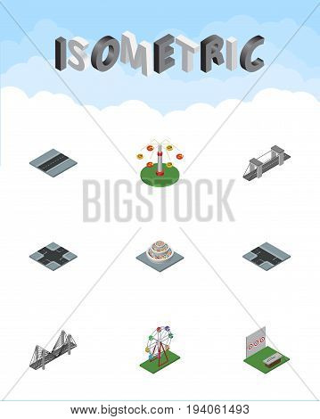 Isometric Urban Set Of Highway, Path, Intersection And Other Vector Objects. Also Includes Aiming, Bridge, Swing Elements.