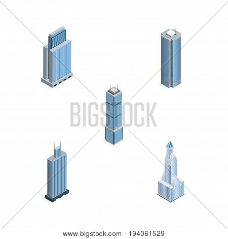 Isometric Skyscraper Set Of Cityscape, Skyscraper, Business Center And Other Vector Objects. Also Includes Business, Cityscape, Skyscraper Elements.