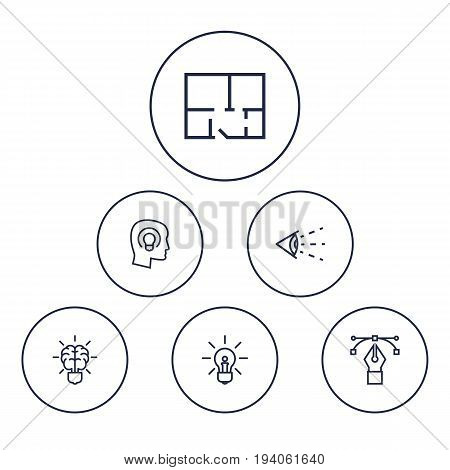 Set Of 6 Constructive Outline Icons Set.Collection Of Bezier Curve, Concept, Brain And Other Elements.