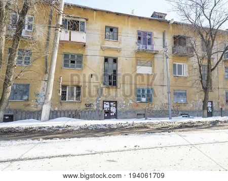 Volgograd Russian Federation - February 17 2017: Evicted terrible old house for demolition