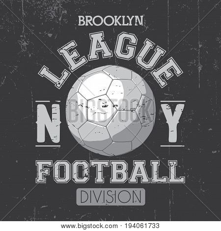 Brooklyn League Poster with a football ball and word division on grey background vector illustration