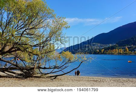 Lake Wakatipu is the place where people can take their family out on holiday Queenstown South Island of New Zealand