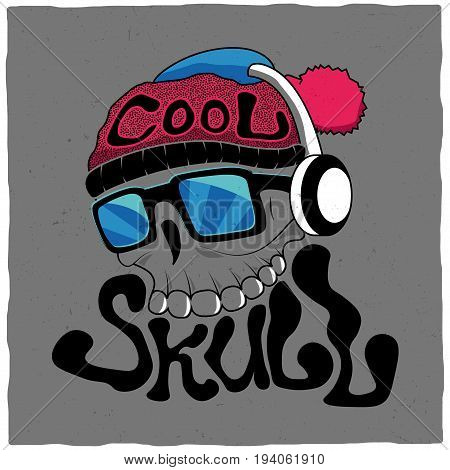 Cool Skull Poster with skeleton head in glasses and headphones on grey background vector illustration
