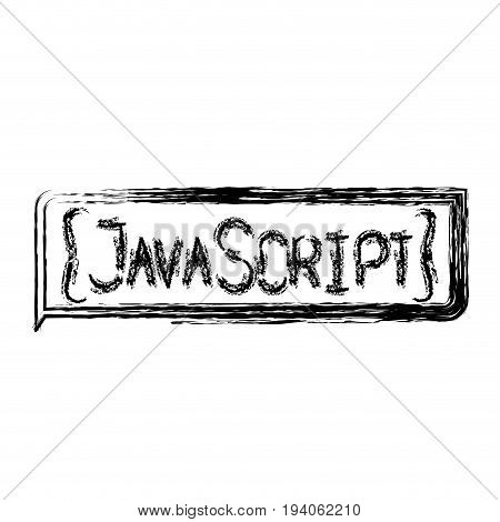 monochrome blurred silhouette of rectangle text Java script vector illustration