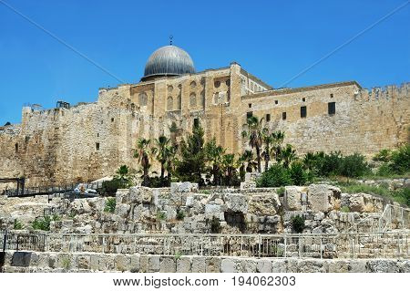 Al Aqsa Mosque on the Temple Mount in the Old City of Jerusalem