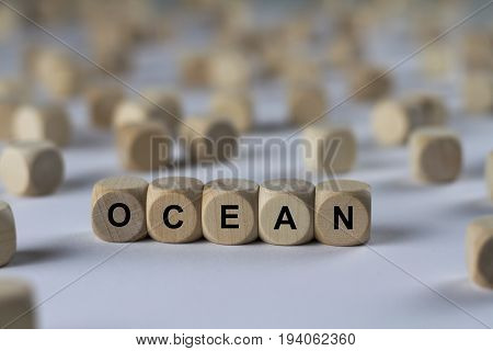 Ocean - Cube With Letters, Sign With Wooden Cubes