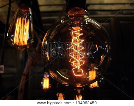 The Lamp of thought in glass tube in the night