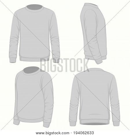 Front, back and side views of blank sweatshirt. Isolated on white. Vector fashion design.