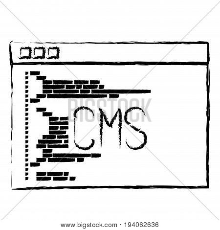 monochrome blurred silhouette of programming window with script code cms vector illustration