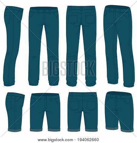 Front, back and side views of blank  jeans. Isolated on white. Vector fashion design.
