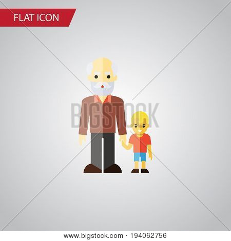 Isolated Grandpa Flat Icon. Grandson Vector Element Can Be Used For Family, Grandpa, Grandson Design Concept.