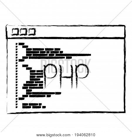 monochrome blurred silhouette of programming window with script code php vector illustration