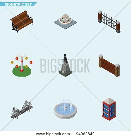 Isometric Urban Set Of Swing Attraction, Sculpture, Park Decoration And Other Vector Objects. Also Includes Bridge, Park, Hedge Elements.
