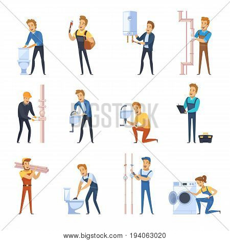 Flat color icons set of plumber male characters working with different sanitary equipment isolated vector illustration