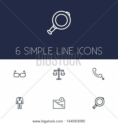 Set Of 6 Business Outline Icons Set.Collection Of Magnifier, Schedule, Handset Elements.