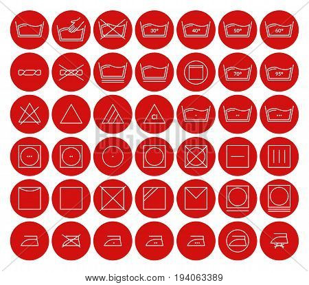 Laundry Icon Thin Line Set Care Cloth Symbols Pixel Perfect Art. Material Design for Web and App in the Red Circle. Vector illustration