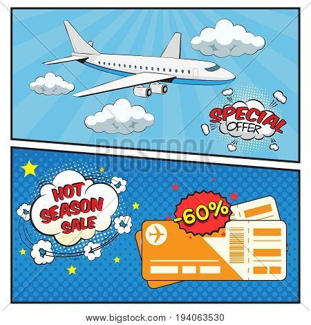 Season sale of air tickets comic style banners with clouds plane and boarding passes isolated vector illustration