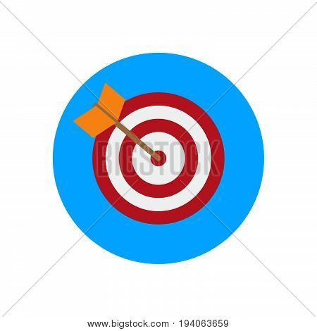 Arrow hitting target flat icon. Round colorful button Bullseye circular vector sign logo illustration. Flat style design